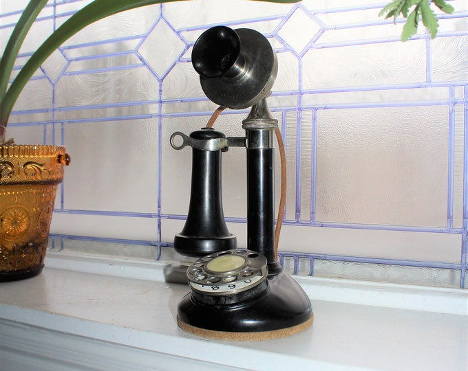 Antique Black Candlestick Telephone Stromberg Carlson Rotary Dial