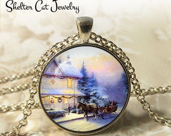 "Winter Wonderland with a Sleigh - 1-1/4"" Circle Pendant or Key Ring - Photo Art Jewelry - Vintage Christmas, Snowy Scene, Holiday Gift"