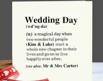 Personalised Wedding Card|Wedding Day Card|Wedding|Congratulations Card|Couples Card|Wedding Gift