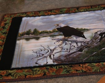 Green Pine Cones Eagle 20  X 23 Table Runner Topper