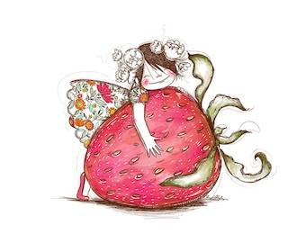 Strawberry Girl - 8x10 ART PRINT