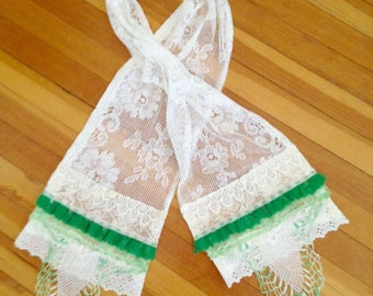 SALE! Romantic Shabby Chic Lace Scarf - Vintage Lace Scarf - Vintage Boho  Lacey Scarf - Reconstructed Lace and Doily Scarf