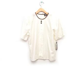 80s White Basic Blouse Women's NOS Dead Stock Medium 10 Short Sleeved