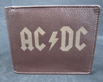 AC/DC leather bi fold wallet- hand made premium leather