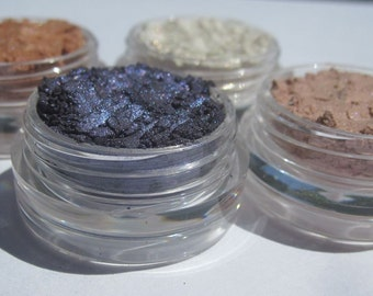 Four Piece Vegan Mineral Eyeshadow Makeup Gift Set | Cruelty-Free  | Loose Powder | Beauty Makeup Gift Set