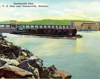 Guntersville Alabama T. V .A .Dam Vintage Postcard circa 1910 (unused)
