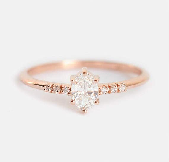 Diamond Ring Diamond Engagement Ring Oval Diamond Ring Rose