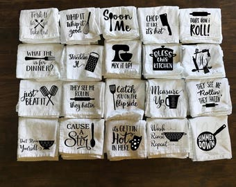 Kitchen Towels - Utensils - Flour Sack Towel - Tea Towel - Funny Towel - Kitchen Decor