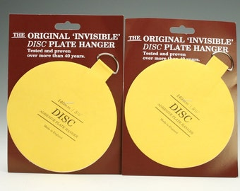 Plate Hangers Two (2) Extra Large Plate Hangers Invisible Disc - 5-1/2  For Plates Up To 6-1/2 Pounds Plate Wall Hanger  sc 1 st  Etsy Studio & Extra Small Plate Hangers Set of Two (2) - Invisible Disc - 1-1/4 ...
