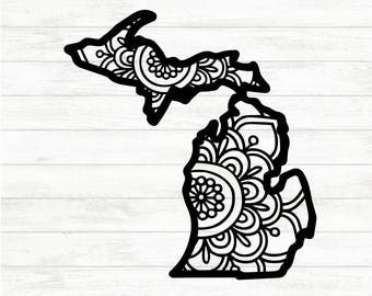 Michigan Decal - Michigan Mandala Decal - Michigan Sticker - Home Decal - Michigan Laptop Sticker - Gift for her - Michigan Gift - Car Decal