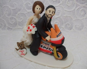 Customized  bride and groom with Repsol motorcycle wedding cake topper