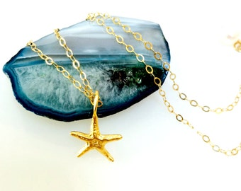Tiny Gold Starfish Beach Necklace ~   Dainty Pendant Ocean Jewelry ~ Minimalist Layering Necklace