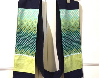 Scarf- 100% cotton- flannel lined -blue and green geometric