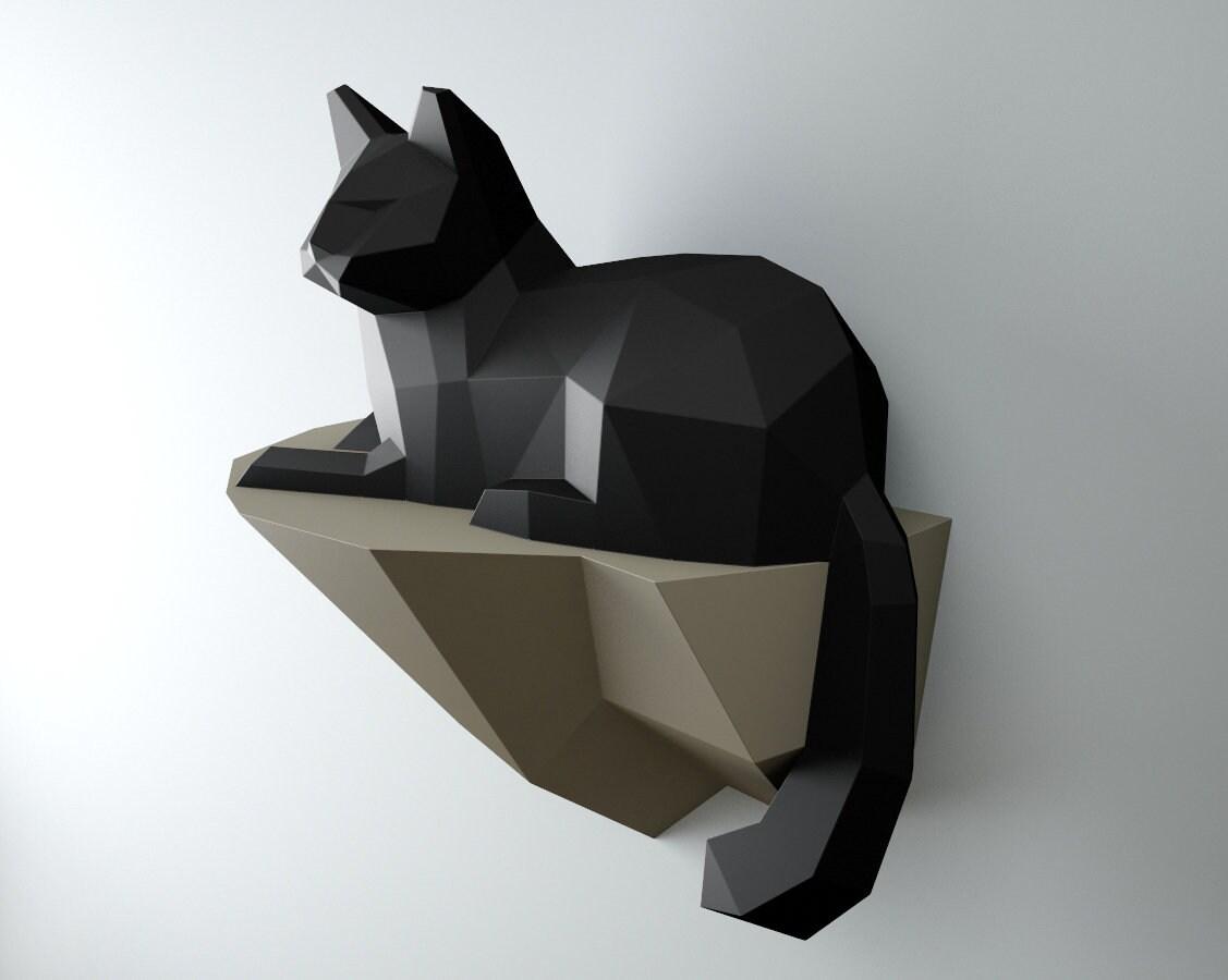 Nautical Home Decor Papercraft Cat On Rock Wall Construction 3d Paper Craft