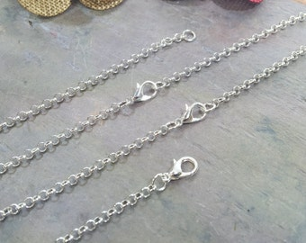 50 Silver Plated ROLO Necklaces / 3.0mm Links / Lobster Clasp / 18 20 22 24 Inch / Charm Bracelet Chain / Jewelry DIY BULK / ZF121-50