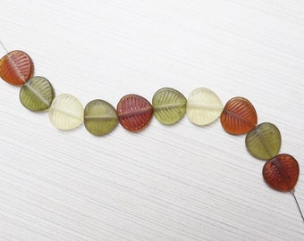 Frosted Czech glass leaf beads