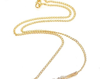 Raw Diamond Necklace Organic Necklace Real Diamond Jewelry Bar Necklace Her Gift Hammered Gold Necklace Layering Necklace Stacking Necklace