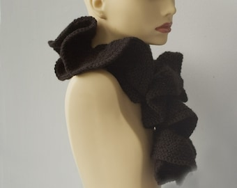 Black Ruffled Scarf, Hand Knit Ruffle Scarf, Vegan, Made to Order