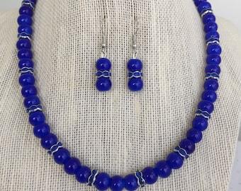 Cobalt Blue Necklace, Blue Bridesmaid Wedding Jewelry, Blue Beaded Rhinestone Necklace, Cobalt Blue Bridesmaid Gift, Beaded Jewelry