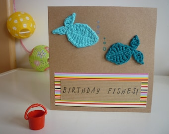 Card with handmade crochet fish! Recycled Kraft card. Birthday Fishes! Ideal for Birthdays and those who love fish