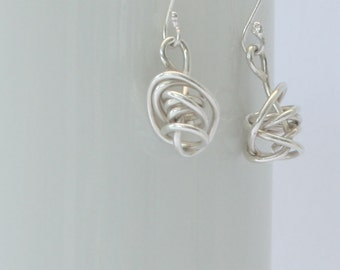 Sterling Silver Handmade Wire Twist Earrings, Gift for Her,