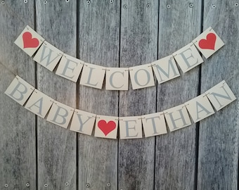 WELCOME BABY banner, baby shower banner, custom baby name banner, baby shower decor, baby shower banner, welcome baby sign