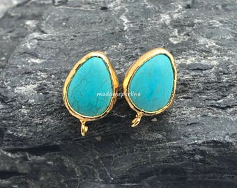 earrings connector turquoise post stud teardrop gold plated setting 22mm blank Bezel with loop bail hoop on bottom ST7