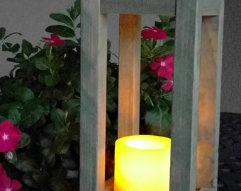 Rustic Indoor Outdoor Lantern Candle Holder made from Reclaimed & Repurposed Wood