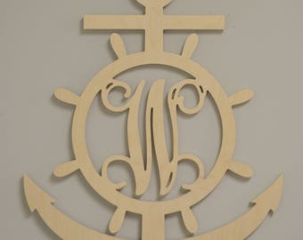 Anchor and Wheel Monogram, Wooden Wheel with Initial, Wooden Shapes, Personalized, Ready to paint, Wall Hanging, Wall Art