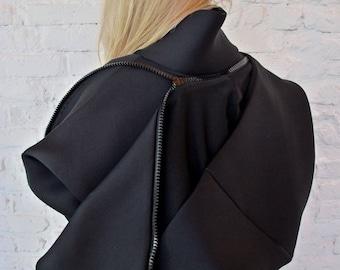 Bomber Jacket/Cyberpunk Hoodie/Plus Size Coat/Goth Jacket/Hooded Jacket/Urban Clothing/Futuristic Clothing/Steampunk Clothing/Hoodie