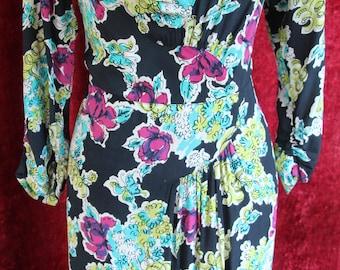 Fabulous 1940s floral dress, Swing, Novelty dress, Black lace, large Size