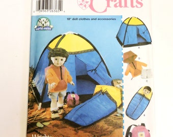 Simplicity 5679 Pattern, 18 inch Doll Clothes and Accessories, Hooded Jacket, Shorts, Tent, Sleeping Bag, Backpack, Uncut itsyourcountry