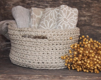 Linen Bath Set, Crochet Basket, Towels, Linen Towels, Basket with Handles, Home Decor, Towel Basket, Storage Basket