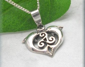 Celtic Dolphin Necklace, Triskele Necklace, Irish Jewelry, Beach Necklace, Sterling Silver, Ocean Jewelry, Celtic Knot, Triskilion