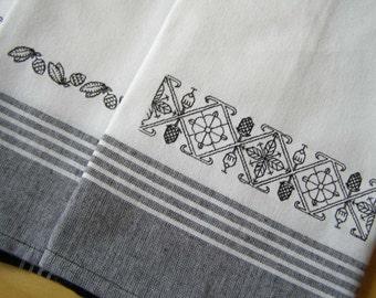 Blackwork Border 3 Set Kitchen Towel