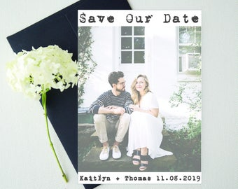 Save-the-Date Photo postcard Template, Save the Date postcard announcement, Wedding Engagement Card, PDF Instant Download, Photo Card