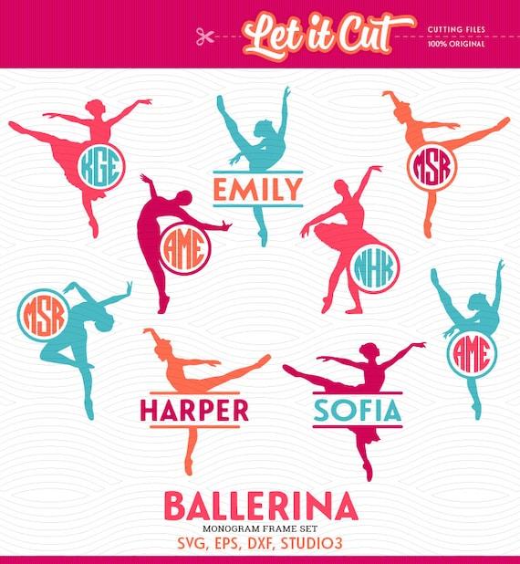 Ballerina SVG Monogram Frames - svg, eps, dxf, studio3 - Ballet ...