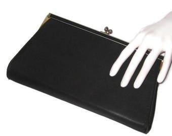 50s Black Purse, Black Evening Bag, Black Fabric Clutch, Black Cocktail Bag, Satin Purse, 1950s Black Clutch, Evening Clutch, Vegan Friendly