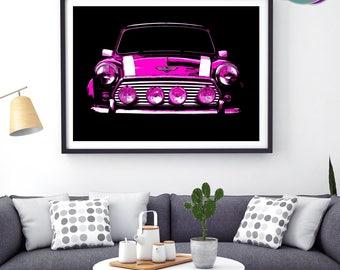 Pink Mini Cooper Classic Car  -PINK Min068 PopArt Front-on Design - Art Print- Mini Cooper - Classic Mini Car - Austin Mini Cooper