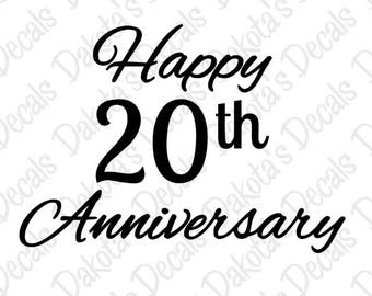 Happy 20th Anniversary SVG/DXF for Download