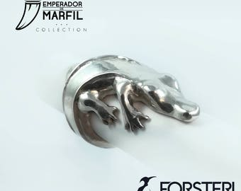 READY TO SHIP - The Guardian of the River - Crocodrile ring, african ring - Silver Ring - artistic jewelry - Emperador de Marfil