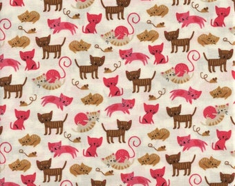 Moda Fabrics Woof Woof Meow 20564 11 Pink Kitties On White By The Yard