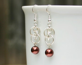 Chocolate pearl chainmaille earrings