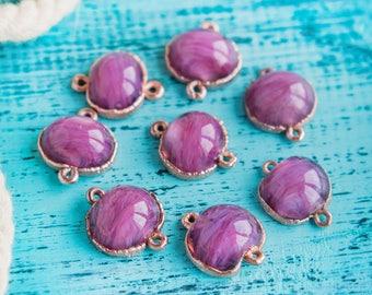 Purple connectors_violet pink_marble pattern_artisan lampwork_2 cm bead pair_copper setting_2 pieces_multipurpose DIY kit_murano glass