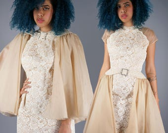 50s Illusion Lace Dress with Convertible Skirt or Cape 1950s Goddess Dress Sheer Cut Out Shoulders Rhinestone Buckle