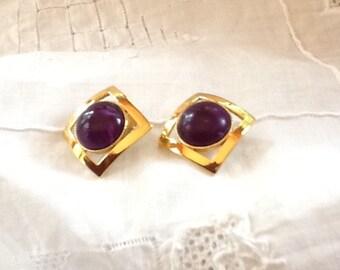 Purple Stone Pierced Earrings