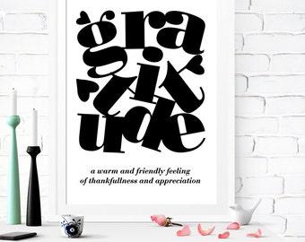 Gratitude Definition, Gratitude Poster, Gratitude Prints, Gratitude Vocabulary, Minimalist Prints, Black White Prints, Black White Art