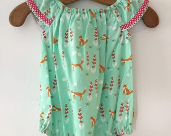 Infants 000 summer flutter sleeve romper 100% cotton Mint green with foxes