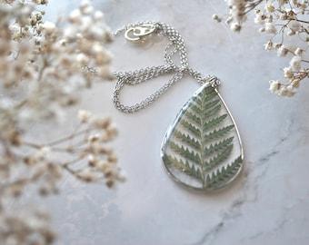 Silver Pressed Fern Necklace Pressed Flower Jewelry Botanical