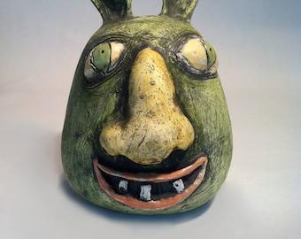 Green Rabbit Man Squishee Ceramic Sculpture